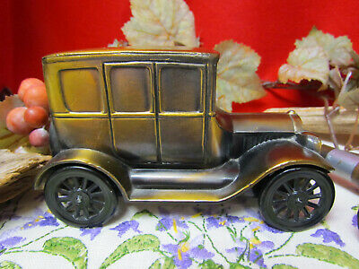 Vtg Heavy Cast Metal Car 1926 Model T Ford Coin Bank Banthrico Chicago Good Cond