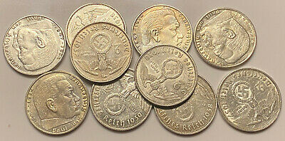 Great German WW 2 Silver Lot of 10 Coins 2 Reichsmark .625 Silver