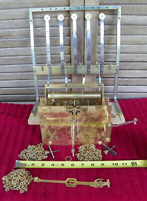 VINTAGE ENFIELD CO. LONDON 5 Tube Tubular Chime Clock CHAIN DRIVEN GRANDFATHER
