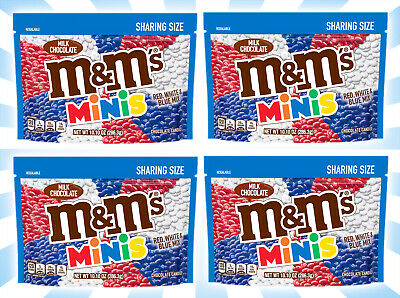 4 M&M's Minis Red, White & Blue Sharing Size Milk Chocolate Candy 10.10 OZ