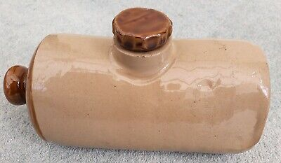 Vintage Stoneware / Stone Hot Water Bottle / Bed / Foot Warmer With Stopper