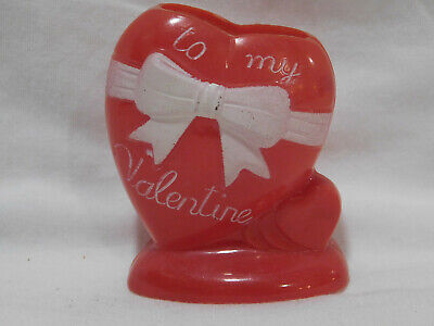 #3 Vtg Rosbro Hard Plastic Valentine To My Valentine Heart Candy Container