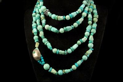 "Vintage Chinese Green Blue Turquoise Long 58"" Necklace D66-02"