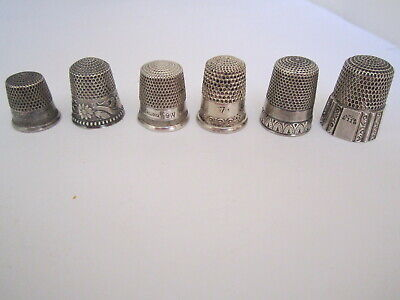LOT OF 6 ANTIQUE & VINTAGE MOSTLY AMERICAN All Hallmarked STERLING THIMBLES Nice
