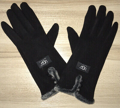 UGG Black Women Gloves With Gray Faux Fur Never Worn