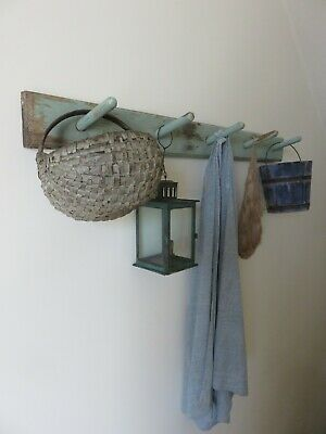 Simple Antique Wooden Five-Peg Wall Rack In Worn Original Paint, Aafa