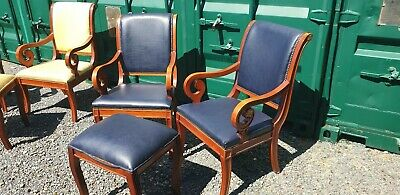 Pair of antique Regency style  hall / dining / bedroom chairs, upholstered