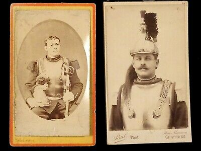 French Photo Carte de Visite Soldier Cuirassier Lot of 2 WW1 Era