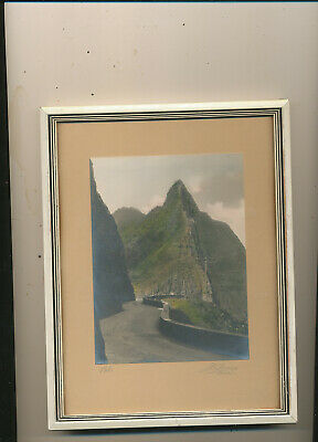 M1601 Early Framed 6X9 Artist Signed Picture Of Road In Pali Hawaii