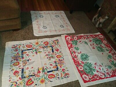 3 Vintage Tablecloth's (Dutch) (Flower) (Embroidered)