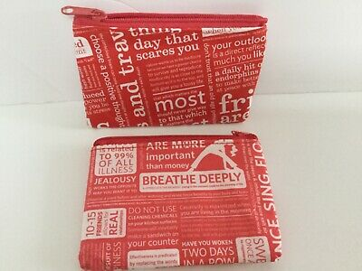 2 Lululemon Gift Card pouches zip coin purses red