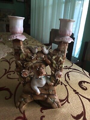 Victorian Double Candle Stick Holder with Pug Dog, Germany