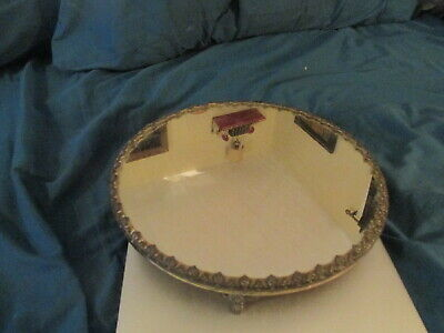 "Antique Vintage 10"" Footed Mirrored Vanity Tray"