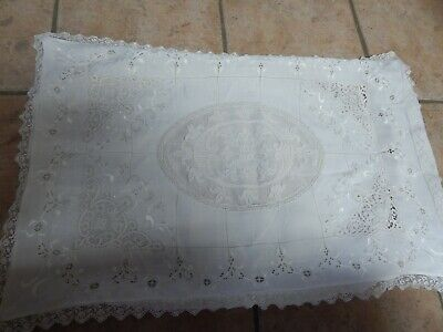 Antique Italian White Linen & Lace Hand Embroidered Pillow  Case