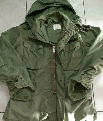 Vtg US Army Military Field Jacket Mens Cold Weather Hooded Coat Green DSA 100-74