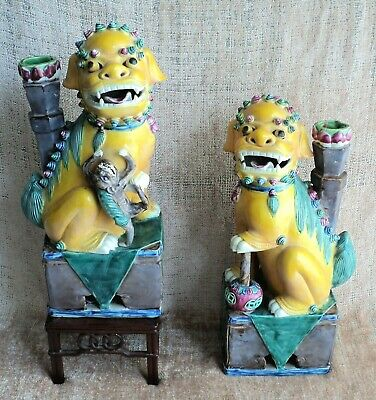 "BEST Antique PAIR Large 14"" FOO DOG LION STATUES Qing Dynasty POLYCHROME Perfect"