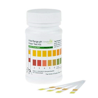 SimplexHealth Wide Range Water pH Test Strips 50 Test Strips