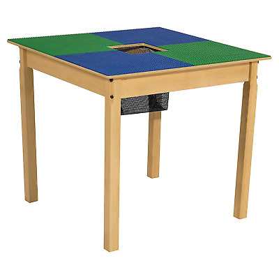 Wood Designs Time-2-Play Lego Compatible Table With Storage For Older Kids, Blue