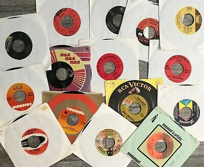 Random Lot of 50 45 rpm records in sleeves for jukebox or casual listening.