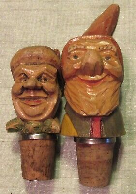 """Two Vintage Carved Wood Cork Bottle Stoppers / Pourers, 3"""" & 4.5"""",  Used - Vg"""