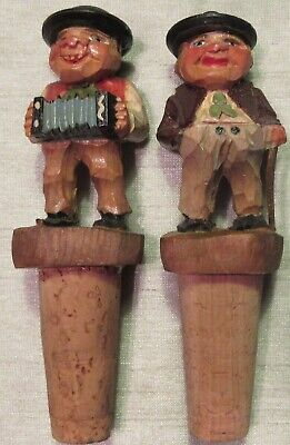 """Two Vintage Carved Wood Cork Bottle Stoppers, Made In Italy, 4.5"""",  Used - Vg"""