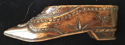 Chipped Carved Wood Snuff Shoe