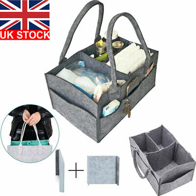 UK Baby Diaper Organizer Caddy Felt Changing Nappy Kids Storage Carrier Bag Grey
