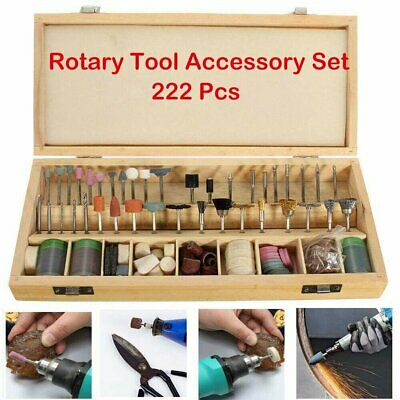 222Pc Rotary Tool Accessories Kit for Dremel Grinding Polishing Shank Craft Bits