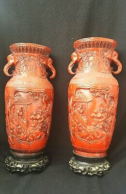 Alte China Rot Lack Vase  Chinese Carved Red Cinnabar Lacquer Asiatika