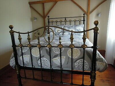 Antique Victorian Brass & Iron Bed ~ Mother of Pearl Inserts ~ 4' 6''