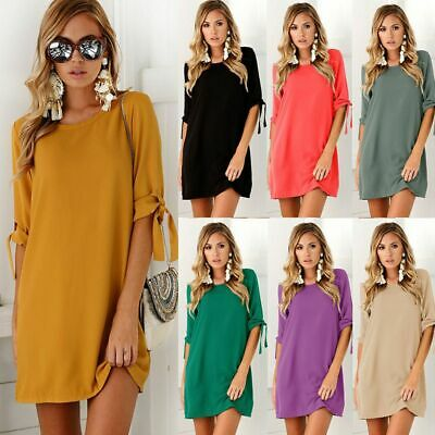 Womens Summer Casual Mini Dress Ladies Holiday Short Sleeve Plain T Shirt Dress