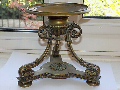 Ornate Antique Cast Brass Stand Victorian Registration Date Diamond Stamped