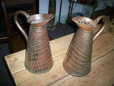 Two Near Matching  Victorian Large Copper Jugs