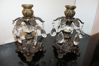 "Vintage Antique Candlestick Holders Brass and Crystals 6"" x 4"""