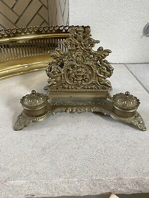 antique inkwell double cast metal