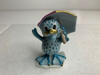 Herend Just Ducky Duck with Umbrella Figurine Turquoise Fishnet 5756