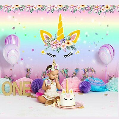 Large Unicorn Backdrop Kids Birthday Party Photo Background -CUTE!