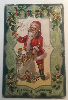Antique embossed Santa Christmas Postcard, His Busy Day, pipe,Toy Bags Ca. 1910.