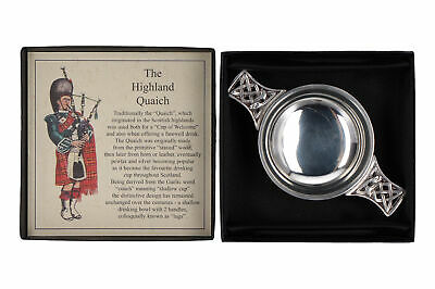 A Scottish Piper Highland Quaich Pewter Small Boxed