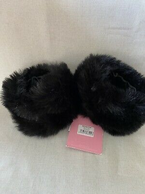 Women's Pair Black Faux Fur Wrist Cuffs Satin Lined from UK NWT