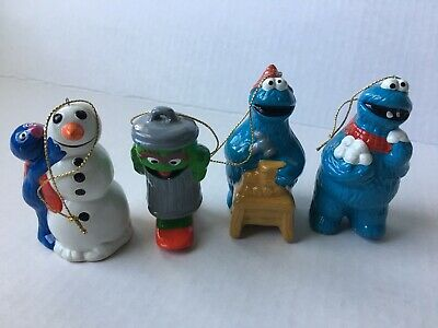 "Lot 4 ""SESAME STREET MUPPET"" Ceramic Christmas Ornament Children's TV Workshop"