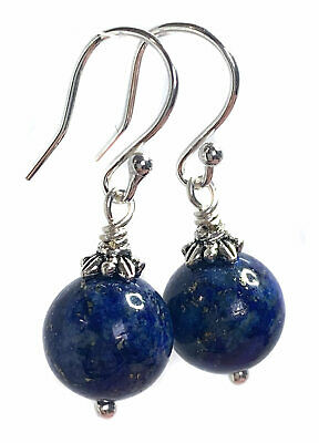 Lapis Lazuli Drop Earrings with Antique Silver Cap - Sterling Silver - UK Seller