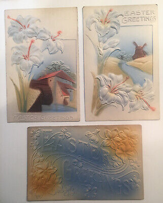 Lot of 3 Antique EASTER POSTCARDS c1908 Mills,  White Lilies Heavily Embossed VG