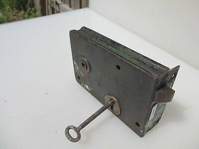Victorian Iron Door Lock Antique Bolt Old Key Vintage Brass Keyhole Escutcheon