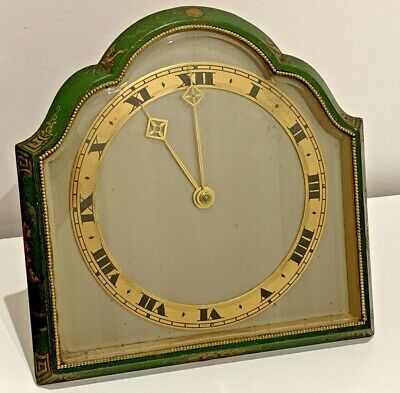 Antique Lacquered Chinoiserie Clock Brass Mount French ESCPT Movement