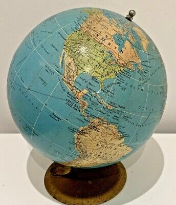 """Vintage Philips London Library Terrestrial Globe 6"""" (1958) World Map With Stand"""