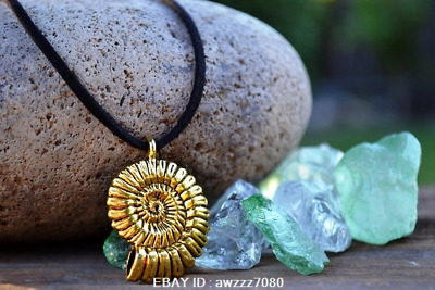 Mermaid Necklace, Gold Shell on Black Leather, Ammonite Fossil