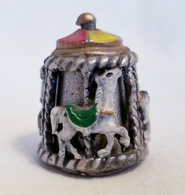 horse spinning carousel pewter thimble