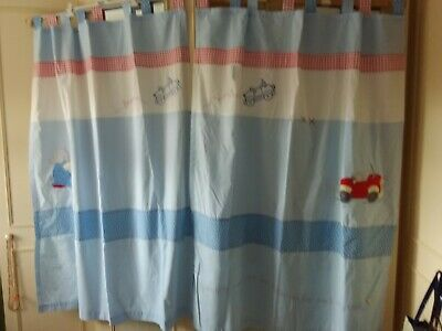 Izziwotnot - Pair Of Blue/Red/White Patterned Humphreys Corner Tab Curtains