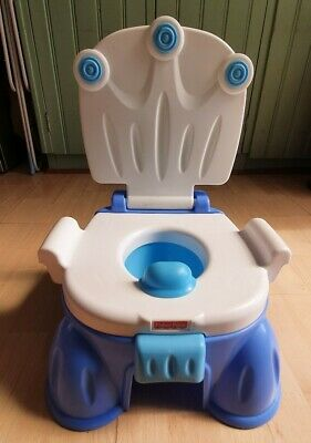 Fisher Price Royal Stepstool Potty Training Toddler Musical Blue Toilet